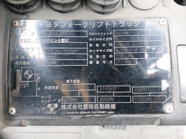 Bảng model Xe nâng dầu Toyota cũ Model 02-8FDL25
